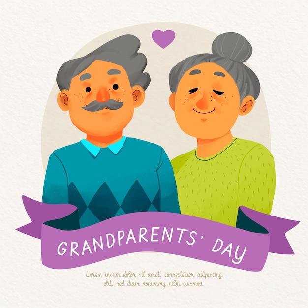 Dia nacional dos avós em aquarela eua Vetor grátis