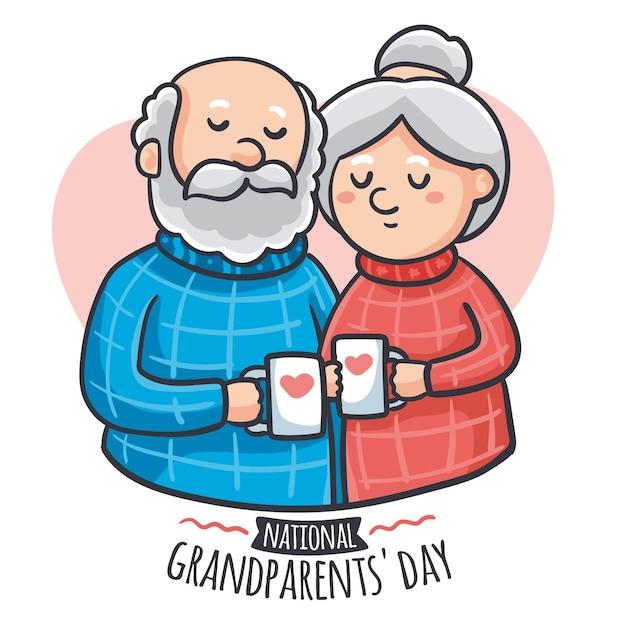 Dia nacional dos avós mão desenhada eua Vetor grátis