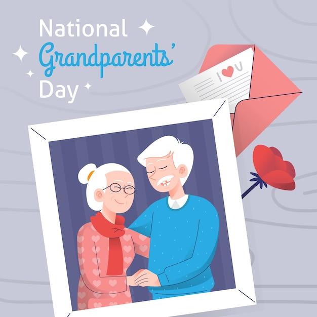 Dia nacional dos avós mão desenhada Vetor grátis