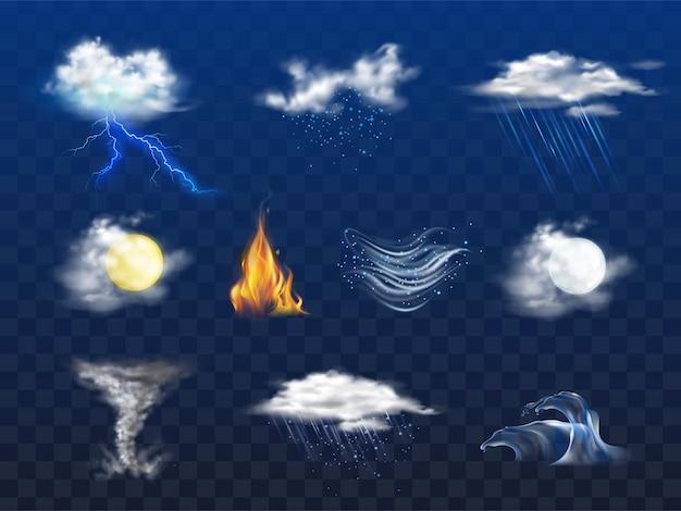 Dia, noite ícone de previsão de tempo, desastre natural Vetor grátis