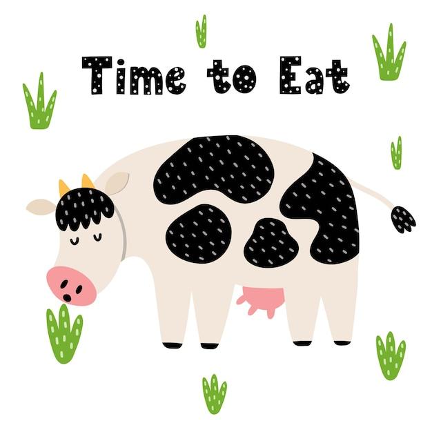 Dia perfeito para ser um cartão feliz com uma vaca engraçada. vaca fofa cheirando uma estampa de flor para crianças. Vetor Premium