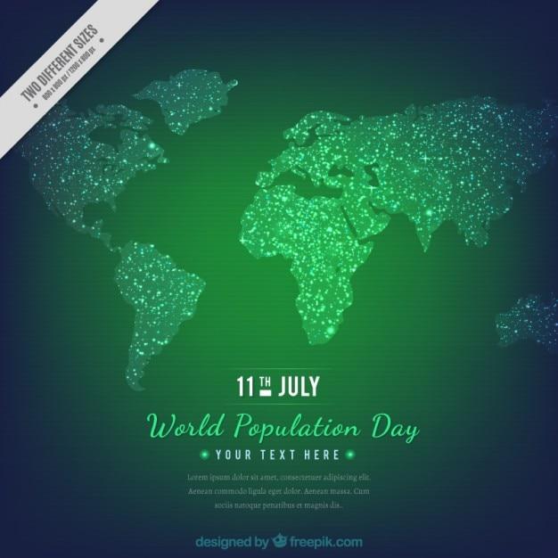 Dia população fundo verde com o mapa Vetor grátis