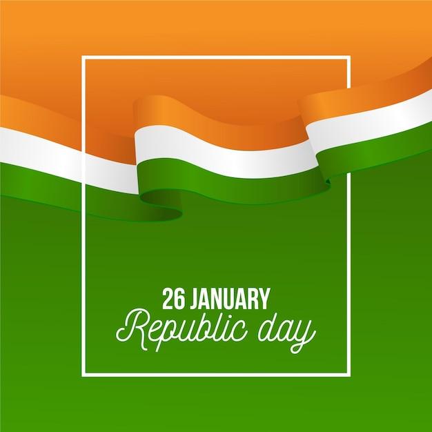 Dia realista da república indiana Vetor Premium