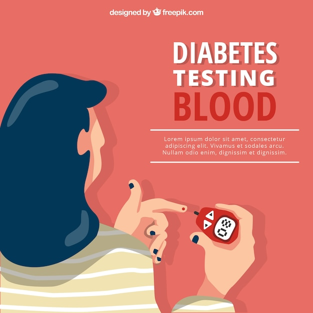 Diabéticos testando sangue com design plano Vetor grátis