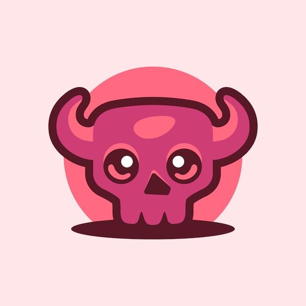 Diabo de caveira fofa com logotipo de mascote de chifre Vetor Premium