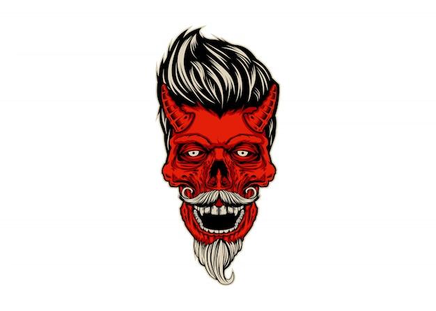 Diabo do crânio rockabilly Vetor Premium