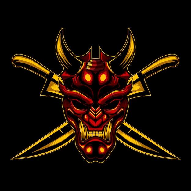 Diabo ronin e espada cruz Vetor Premium