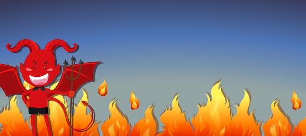 Diabo vermelho com bandeira de fogo Vetor grátis