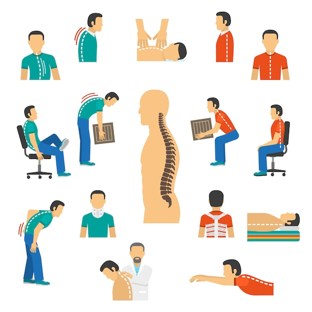Diagnóstico e tratamento doenças da espinha Vetor grátis