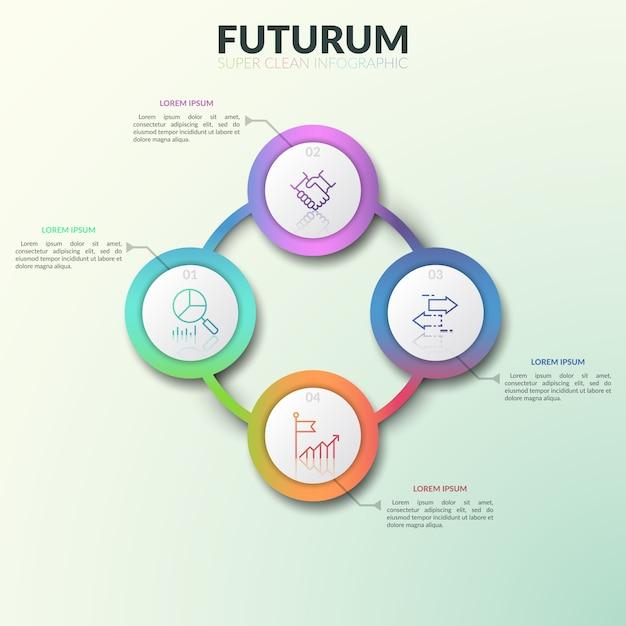 Diagrama circular, 4 conectados gradiente redondo elementos coloridos com números, ícones de linha fina e caixas de texto. Vetor Premium
