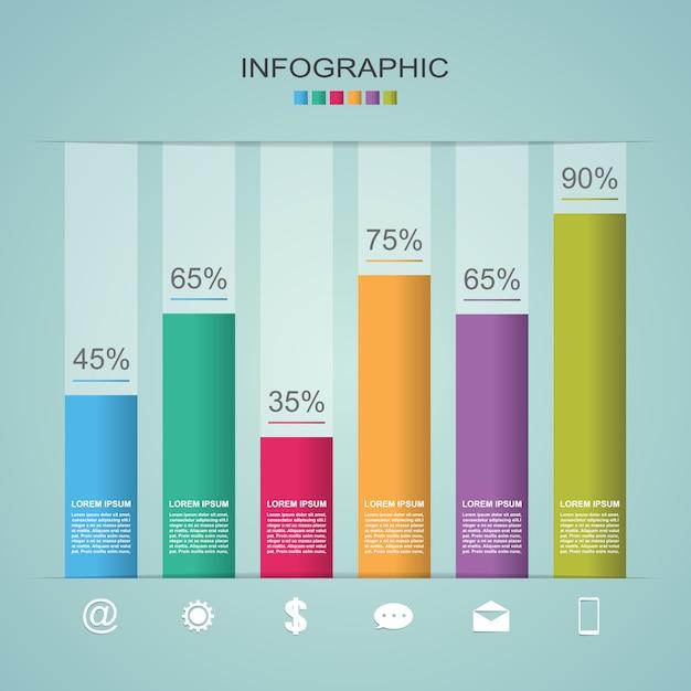 Diagrama de gráfico de barras diagrama de etapas estatística negócios infográfico ilustração Vetor Premium