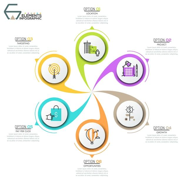Diagrama de pétala de flor com 6 elementos circulares Vetor Premium