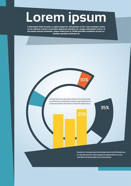 Diagrama de torta com porcentagem gráfico financeiro flyer Vetor Premium
