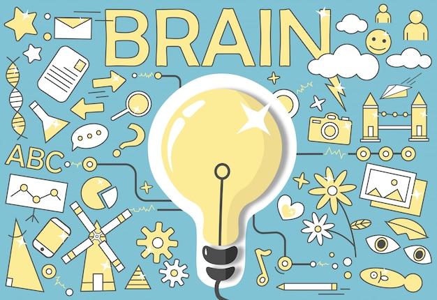 Diagrama do cérebro humano Vetor Premium