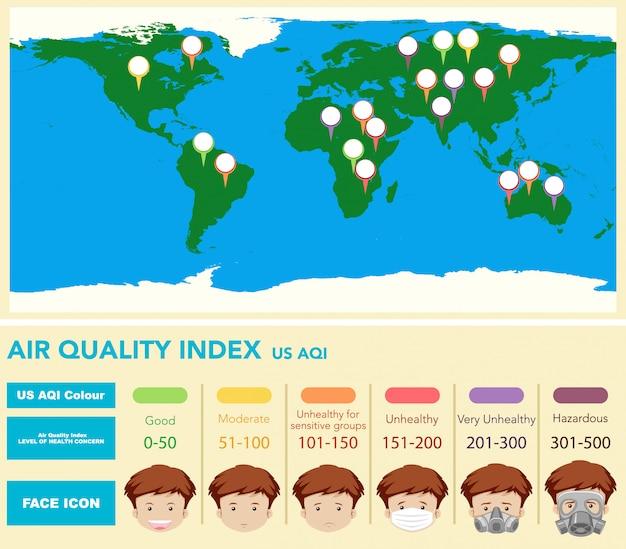 Diagrama mostrando o índice de qualidade do ar com o mapa do mundo Vetor grátis