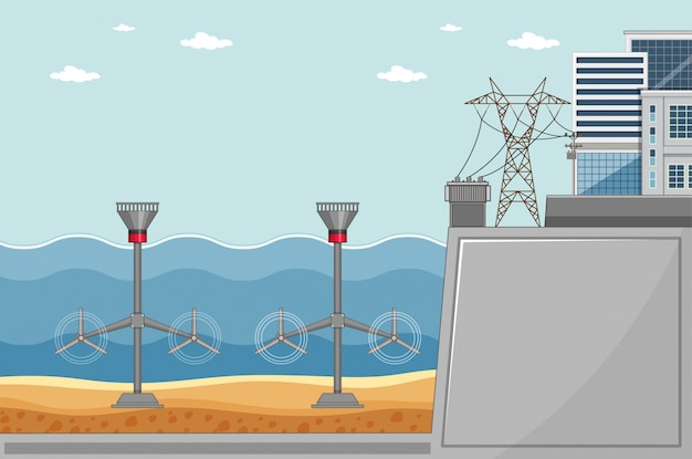 Diagrama mostrando turbinas no fundo do mar Vetor grátis