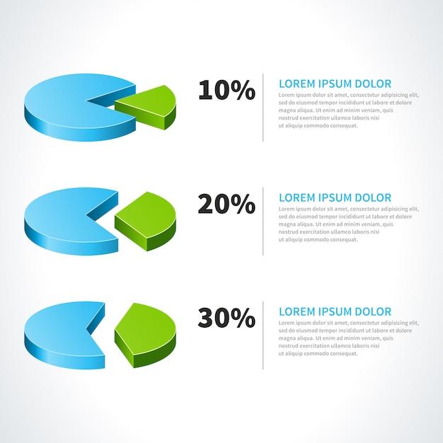 Diagramas circulares 3d e elementos de design vector por cento isolados no fundo branco para infográficos Vetor Premium