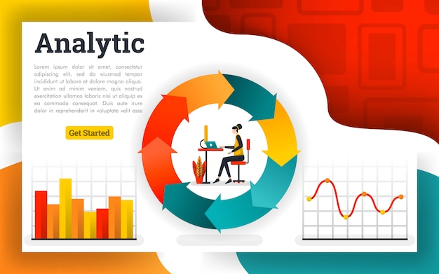 Diagramas de circulação financeira e relatórios de fluxograma Vetor Premium