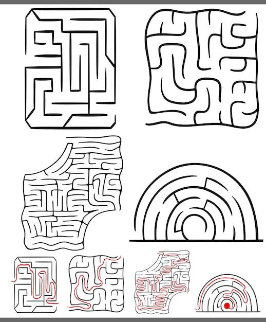 Diagramas de labirintos ou labirintos Vetor Premium