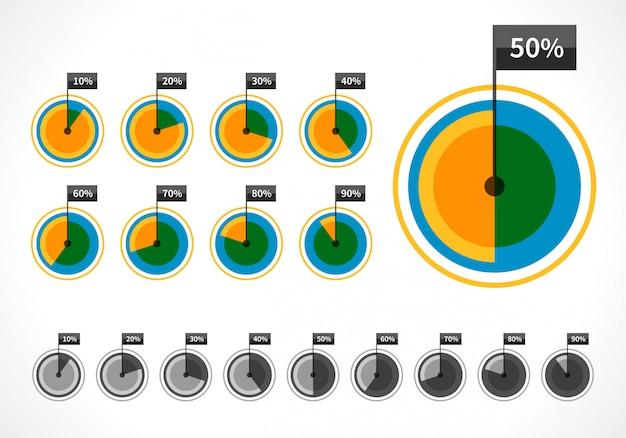 Diagramas redondos e elementos de design vector por cento para apresentação de negócios infográficos Vetor Premium