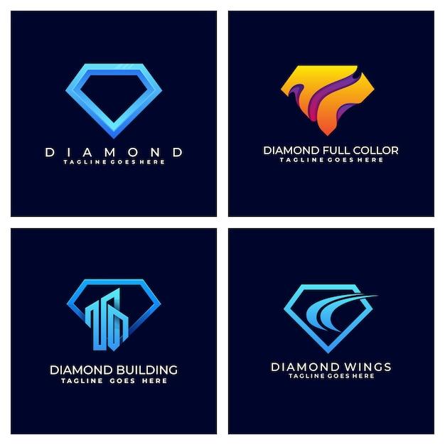 Diamante colorido modelo design ilustração Vetor Premium
