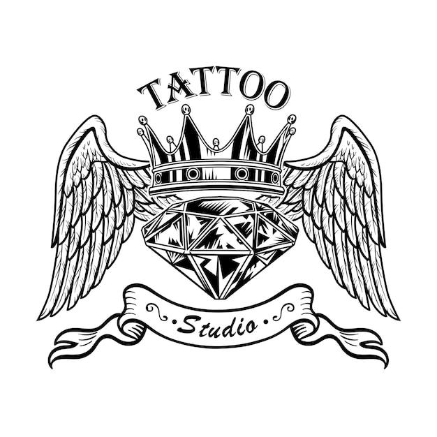 Diamante monocromático com ilustração vetorial de asas. desenho retrô de gema, coroa e asas de anjo Vetor grátis