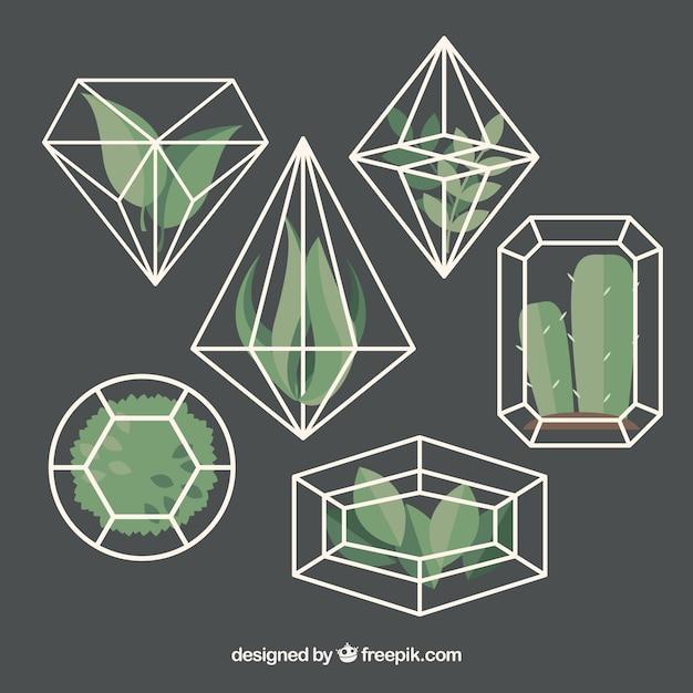 Diamantes fantásticas com plantas decorativas Vetor grátis