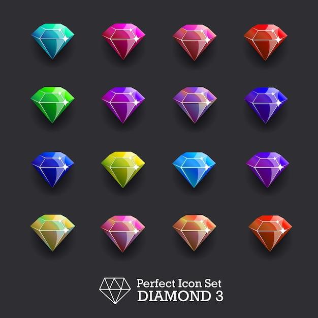 Diamondsetvector Vetor Premium