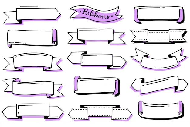 Diário de bala doodle conjunto de fitas. coleção de mão desenhada fitas de contorno. modelos vazios para etiquetas. estilo doodle Vetor Premium