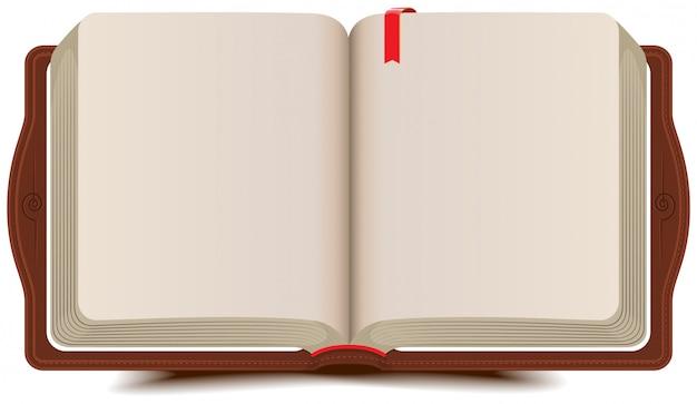 Diário de livro aberto com marcador Vetor Premium