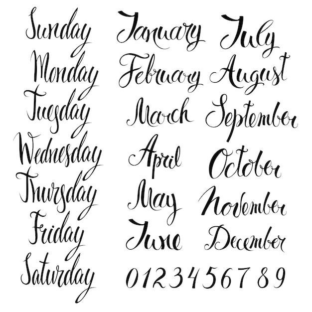 Dias da semana, meses e números Vetor grátis