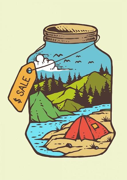 Dias de verão no rio e montanha com fogueira em ilustração vetorial vintage retrô Vetor Premium