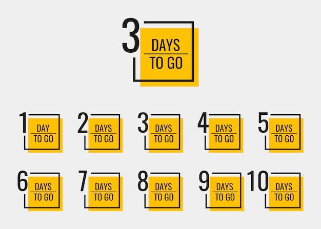 Dias restantes para ir de 1 a 10. modelo de design de banners geométricos para suas necessidades. Vetor Premium