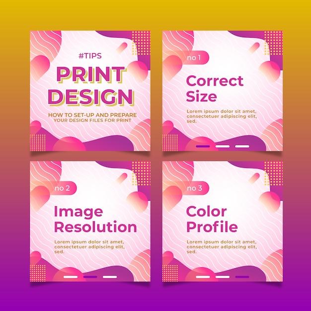Dicas de design de impressão no conjunto de postagens do instagram Vetor grátis