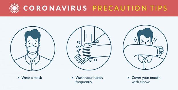 Dicas de precaução de coronavírus. Vetor Premium