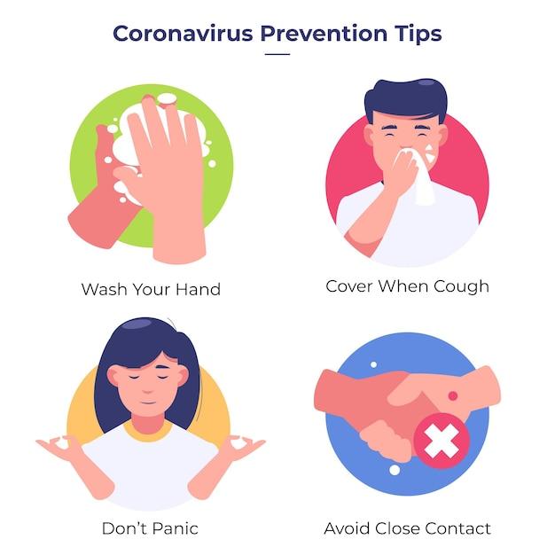 Dicas de prevenção / proteção de coronavírus Vetor grátis