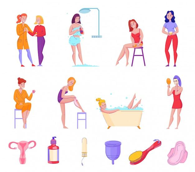 Dicas de produtos de higiene pessoal de higiene feminina coleção de ícones plana com ilustração em vetor tampões de sabão de toalhas de banho Vetor grátis