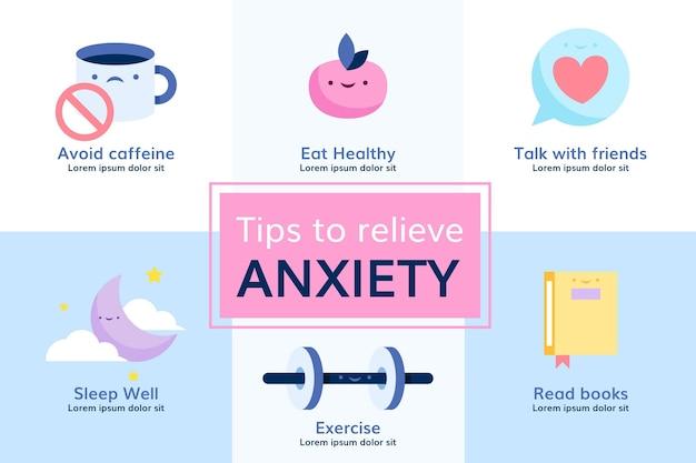 Dicas para design de infográfico de ansiedade Vetor grátis