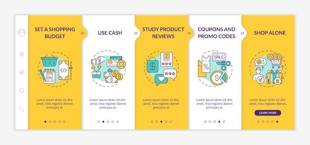 Dicas para economizar dinheiro para o modelo de integração de compradores. revisão de produtos. cupons e códigos promocionais. site móvel responsivo com ícones. telas de passo a passo da página da web. conceito de cor rgb Vetor Premium