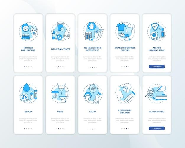 Dicas para exames de sangue na tela da página do aplicativo móvel com o conjunto de conceitos Vetor Premium