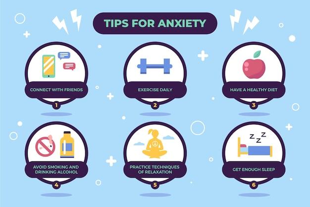 Dicas para gráficos de ansiedade e estilo de vida saudável Vetor grátis