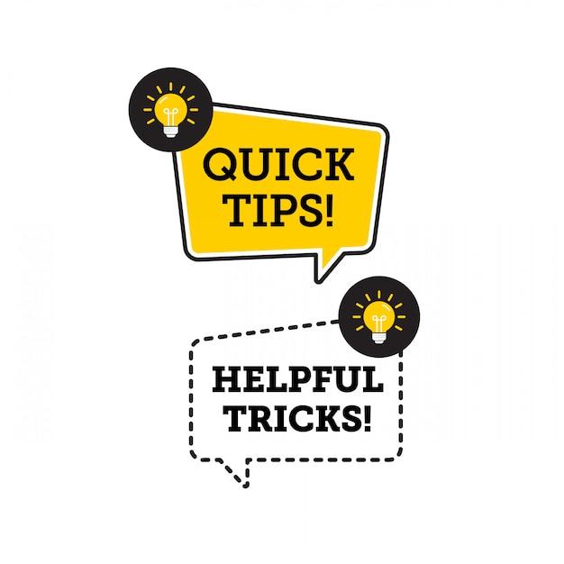 Dicas rápidas, truques úteis vector ícone de logotipo ou símbolo definido com elemento preto e amarelo de cor e lâmpada Vetor Premium