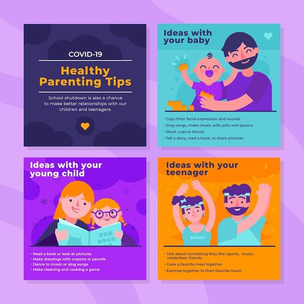 Dicas saudáveis para pais no instagram Vetor grátis
