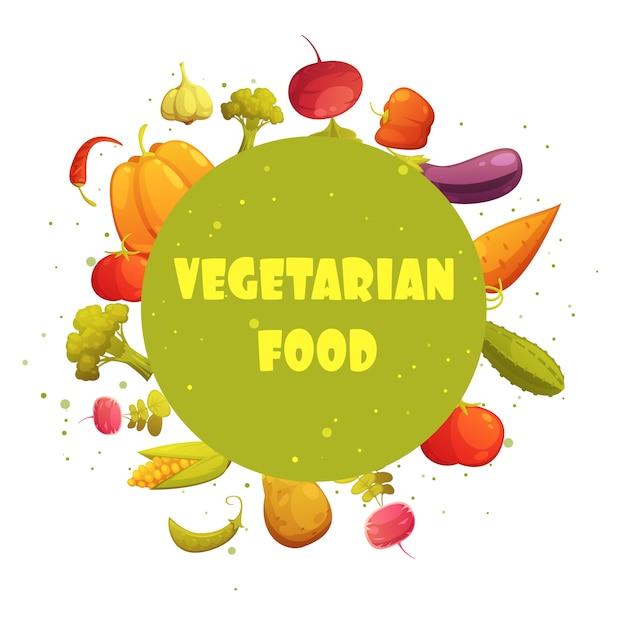 Dieta de comida vegetariana redondo círculo verde fresco legumes composição dos desenhos animados estilo retro ícone cartaz Vetor grátis