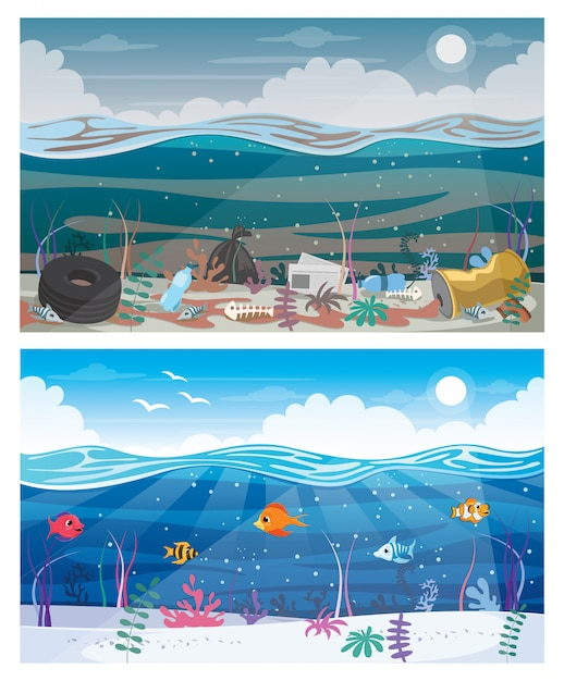 Diferença entre mar limpo e sujo Vetor Premium