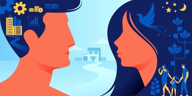 Diferença entre o estado mental masculino e feminino Vetor Premium
