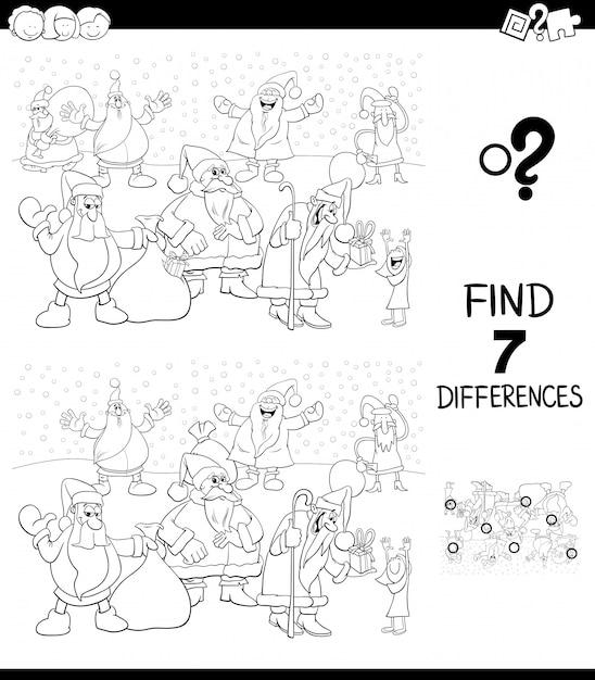 Diferenças jogo com livro de cor de papai noel Vetor Premium