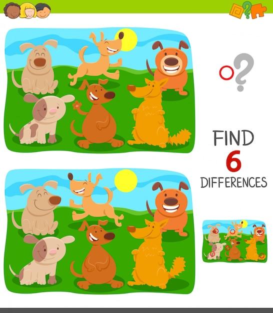 Diferenças jogo educacional com cães Vetor Premium