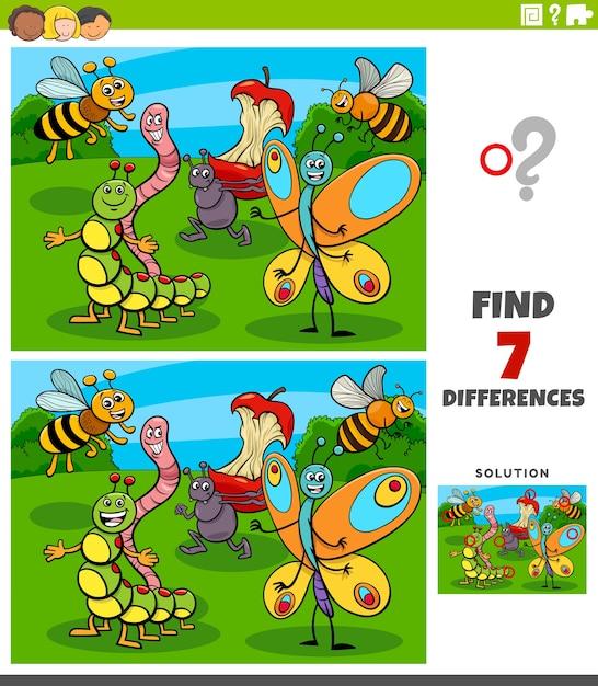 Diferenças jogo educacional com personagens de insetos Vetor Premium