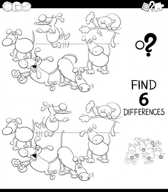 Diferenças jogo para crianças com cães color book Vetor Premium